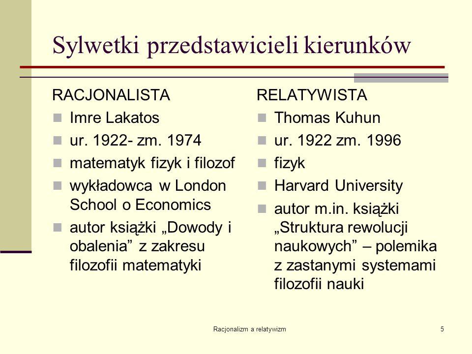 Racjonalizm a relatywizm5 Sylwetki przedstawicieli kierunków RACJONALISTA Imre Lakatos ur. 1922- zm. 1974 matematyk fizyk i filozof wykładowca w Londo