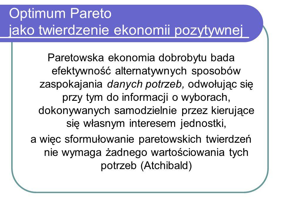 Optimum Pareto jako twierdzenie ekonomii pozytywnej Paretowska ekonomia dobrobytu bada efektywność alternatywnych sposobów zaspokajania danych potrzeb