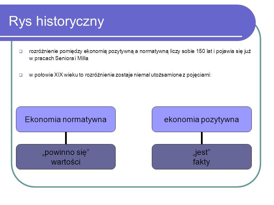 Rys historyczny rozróżnienie pomiędzy ekonomią pozytywną a normatywną liczy sobie 150 lat i pojawia się już w pracach Seniora i Milla w połowie XIX wi
