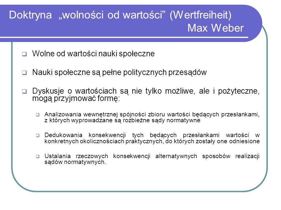 Doktryna wolności od wartości (Wertfreiheit) Max Weber Wolne od wartości nauki społeczne Nauki społeczne są pełne politycznych przesądów Dyskusje o wa