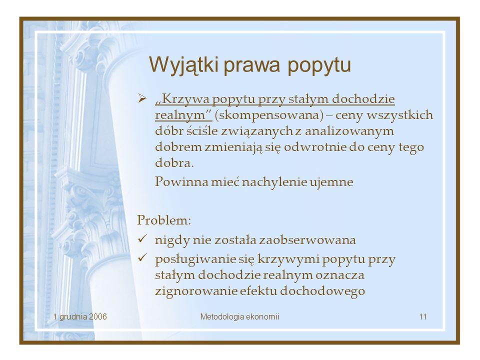1 grudnia 2006Metodologia ekonomii11 Wyjątki prawa popytu Krzywa popytu przy stałym dochodzie realnym (skompensowana) – ceny wszystkich dóbr ściśle zw