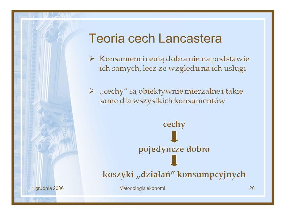 1 grudnia 2006Metodologia ekonomii20 Teoria cech Lancastera Konsumenci cenią dobra nie na podstawie ich samych, lecz ze względu na ich usługi cechy są