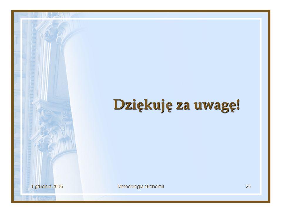 1 grudnia 2006Metodologia ekonomii25 Dziękuję za uwagę!
