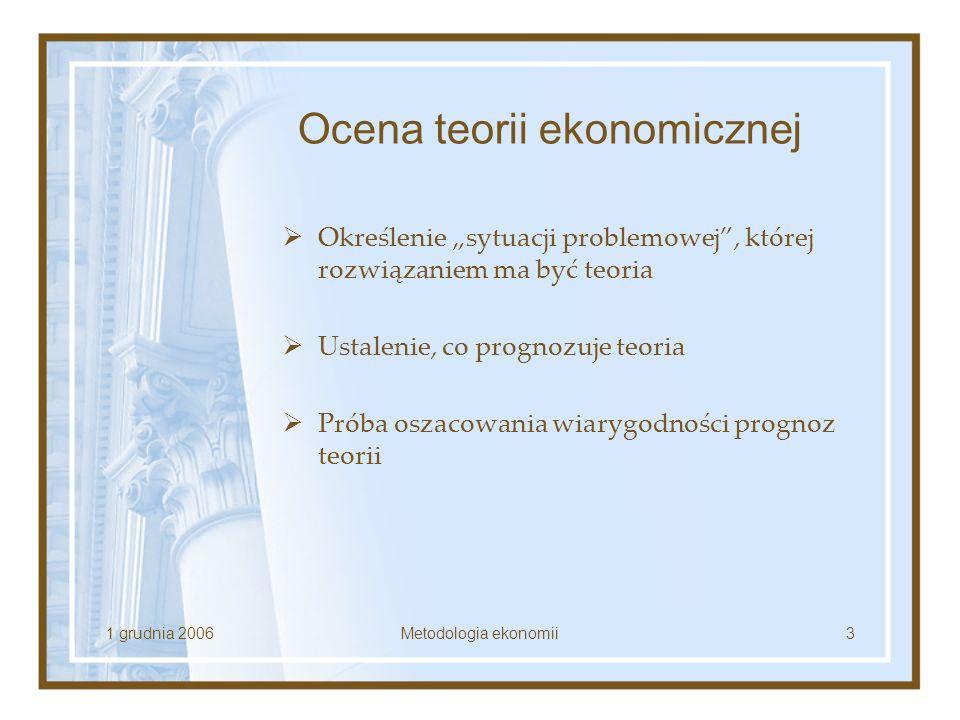 1 grudnia 2006Metodologia ekonomii3 Ocena teorii ekonomicznej Określenie sytuacji problemowej, której rozwiązaniem ma być teoria Ustalenie, co prognoz
