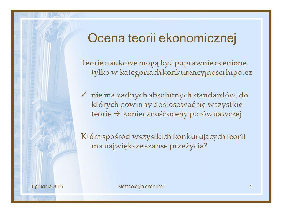 1 grudnia 2006Metodologia ekonomii4 Ocena teorii ekonomicznej Teorie naukowe mogą być poprawnie ocenione tylko w kategoriach konkurencyjności hipotez