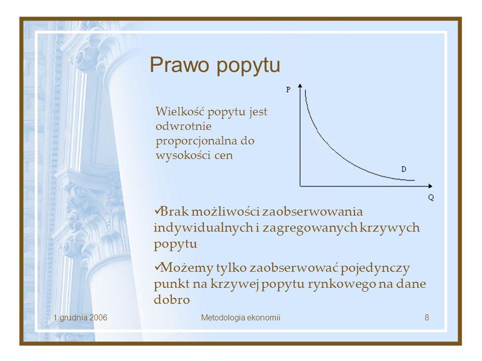 1 grudnia 2006Metodologia ekonomii8 Prawo popytu Wielkość popytu jest odwrotnie proporcjonalna do wysokości cen Brak możliwości zaobserwowania indywid