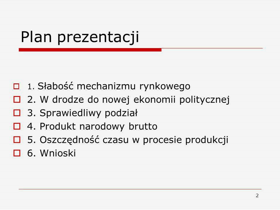 2 Plan prezentacji 1. Słabość mechanizmu rynkowego 2. W drodze do nowej ekonomii politycznej 3. Sprawiedliwy podział 4. Produkt narodowy brutto 5. Osz