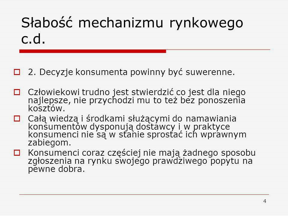 5 Słabość mechanizmu rynkowego c.d.3.