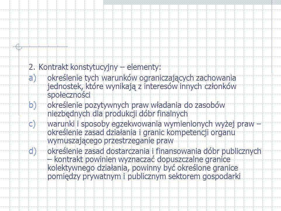 2. Kontrakt konstytucyjny – elementy: a) określenie tych warunków ograniczających zachowania jednostek, które wynikają z interesów innych członków spo