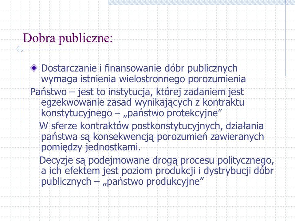 Dobra publiczne: Dostarczanie i finansowanie dóbr publicznych wymaga istnienia wielostronnego porozumienia Państwo – jest to instytucja, której zadani