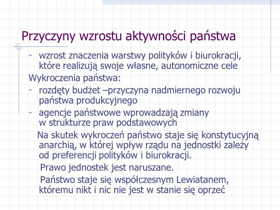 Przyczyny wzrostu aktywności państwa - wzrost znaczenia warstwy polityków i biurokracji, które realizują swoje własne, autonomiczne cele Wykroczenia p
