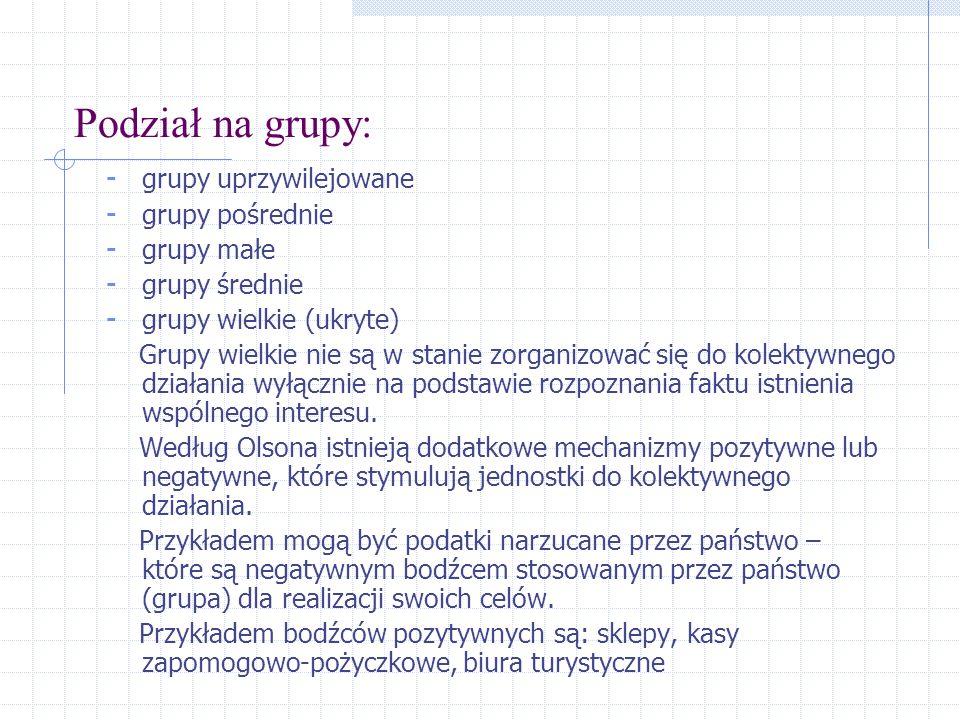 Podział na grupy: - grupy uprzywilejowane - grupy pośrednie - grupy małe - grupy średnie - grupy wielkie (ukryte) Grupy wielkie nie są w stanie zorgan