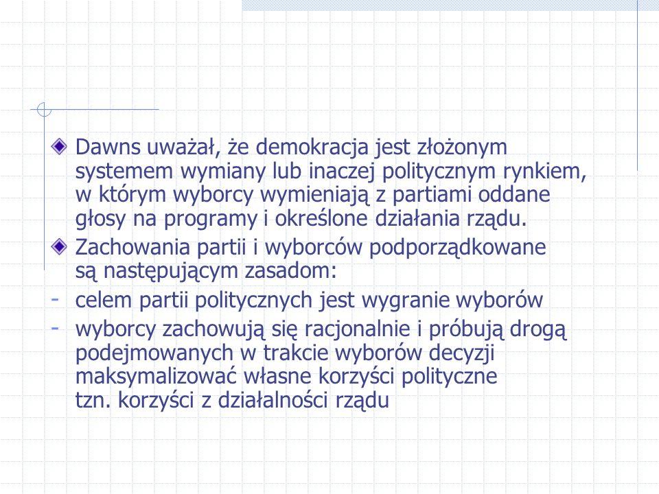 Partie polityczne zachowują się tak jak producenci a wyborcy jak konsumenci; Hipoteza: - celem sprawujących władzę jest działanie na rzecz jej utrzymania - podstawowym punktem odniesienia dla rządu nie jest maksymalizacja dobrobytu społeczeństwa i korzyści obywateli, lecz maksymalizacja korzyści własnych