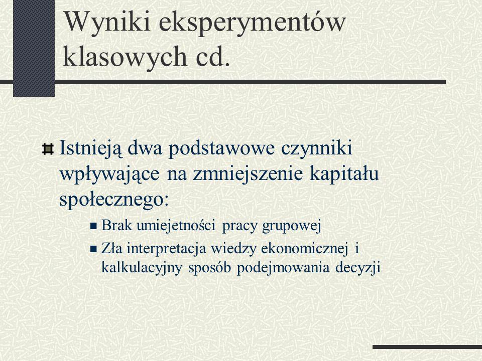 Wyniki eksperymentów klasowych cd.