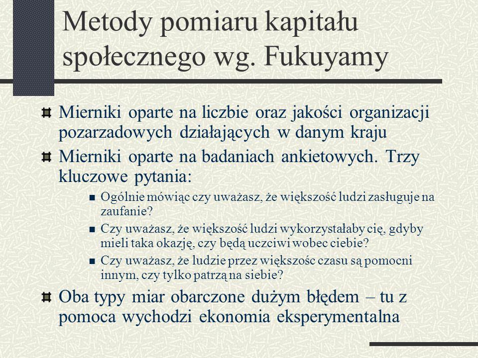 Metody uzyskania informacji o kapitale społecznym Wykorzystanie m.