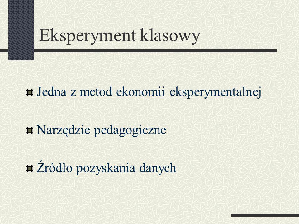 Eksperyment klasowy Jedna z metod ekonomii eksperymentalnej Narzędzie pedagogiczne Źródło pozyskania danych