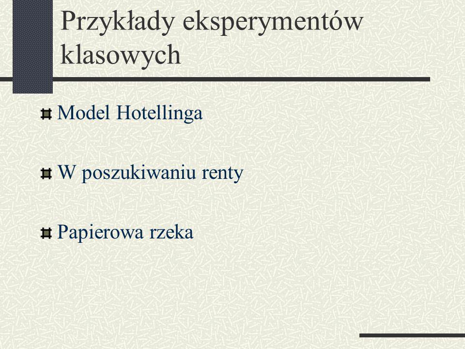 Przykłady eksperymentów klasowych Model Hotellinga W poszukiwaniu renty Papierowa rzeka