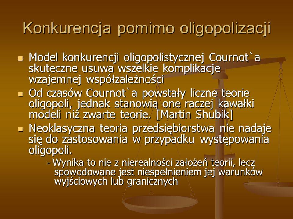 Konkurencja pomimo oligopolizacji Model konkurencji oligopolistycznej Cournot`a skuteczne usuwa wszelkie komplikacje wzajemnej współzależności Model k