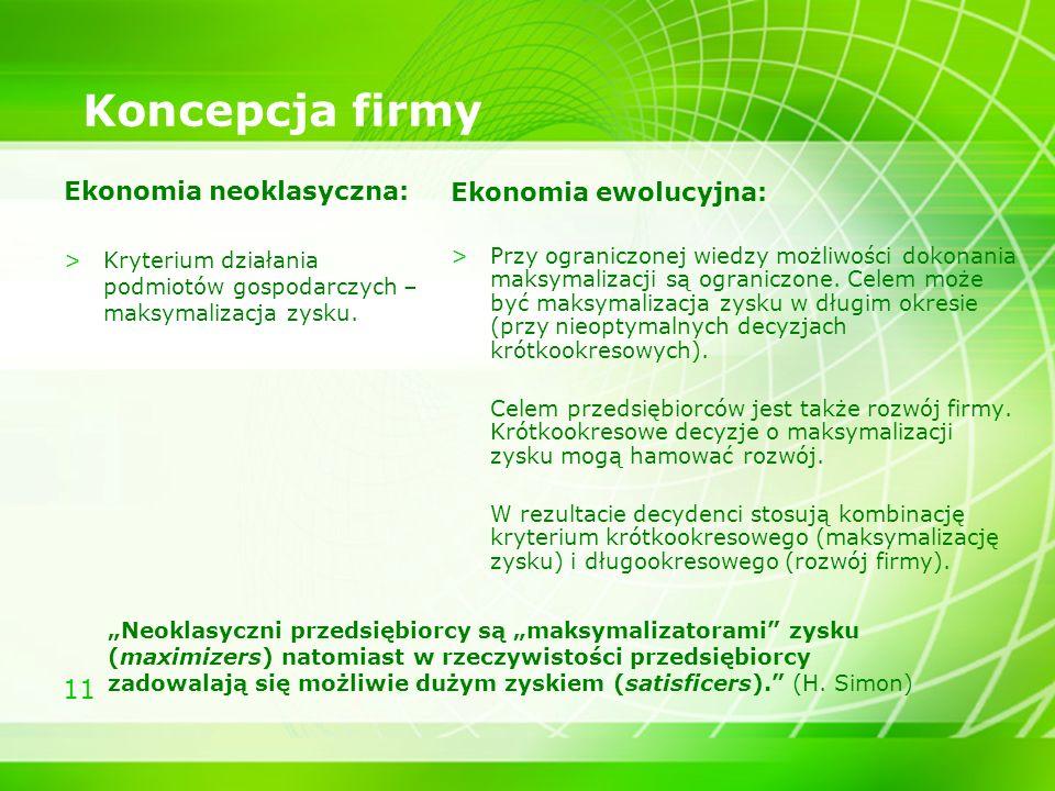 11 Koncepcja firmy Ekonomia neoklasyczna: >Kryterium działania podmiotów gospodarczych – maksymalizacja zysku. Ekonomia ewolucyjna: >Przy ograniczonej
