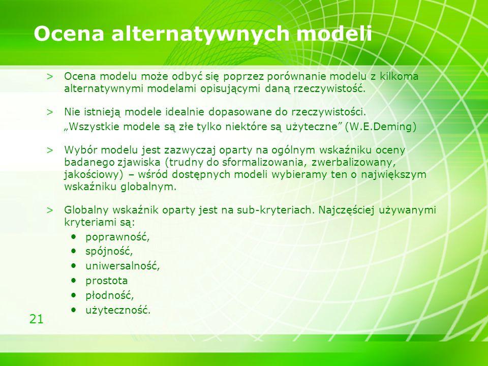 21 Ocena alternatywnych modeli >Ocena modelu może odbyć się poprzez porównanie modelu z kilkoma alternatywnymi modelami opisującymi daną rzeczywistość