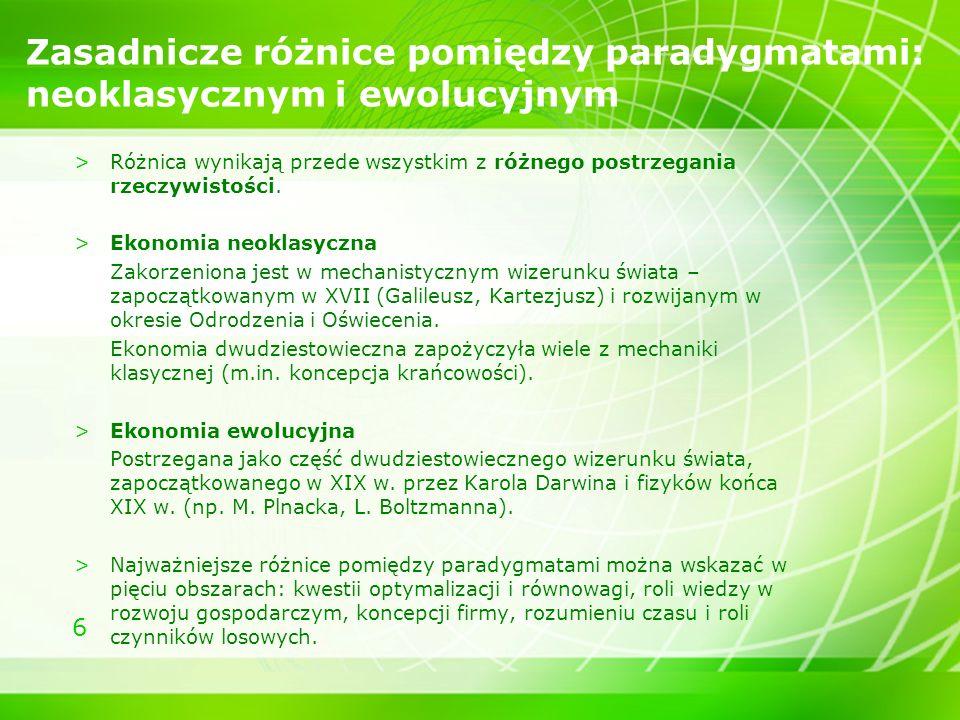 6 Zasadnicze różnice pomiędzy paradygmatami: neoklasycznym i ewolucyjnym >Różnica wynikają przede wszystkim z różnego postrzegania rzeczywistości. >Ek