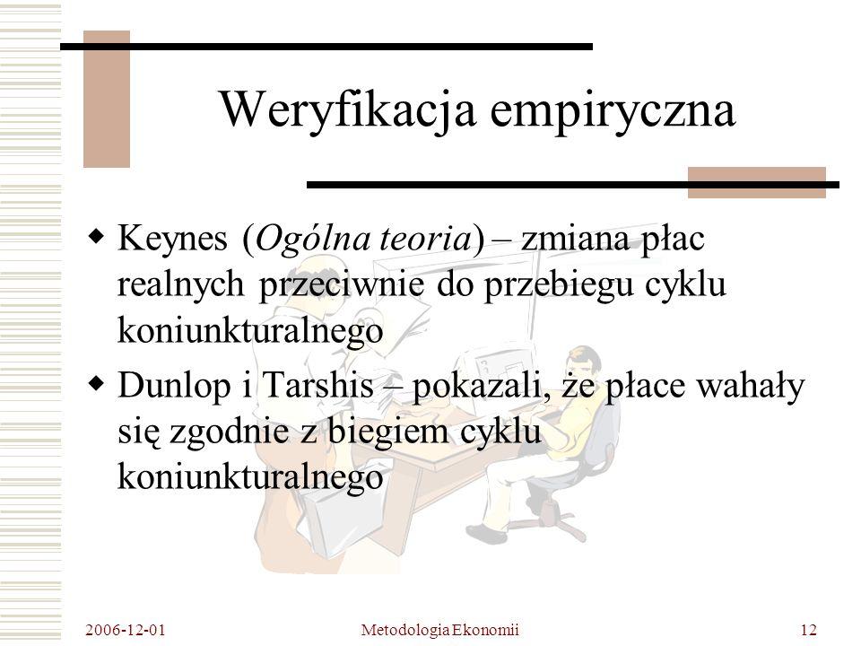 2006-12-01 Metodologia Ekonomii12 Weryfikacja empiryczna Keynes (Ogólna teoria) – zmiana płac realnych przeciwnie do przebiegu cyklu koniunkturalnego Dunlop i Tarshis – pokazali, że płace wahały się zgodnie z biegiem cyklu koniunkturalnego