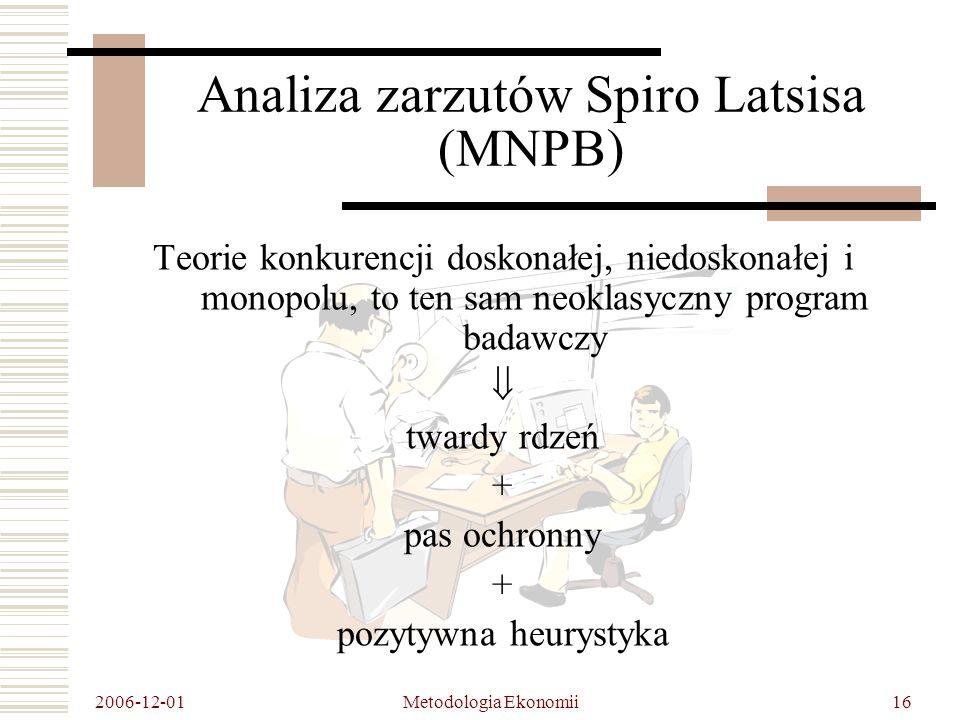 2006-12-01 Metodologia Ekonomii16 Analiza zarzutów Spiro Latsisa (MNPB) Teorie konkurencji doskonałej, niedoskonałej i monopolu, to ten sam neoklasyczny program badawczy twardy rdzeń + pas ochronny + pozytywna heurystyka