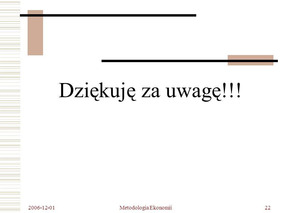 2006-12-01 Metodologia Ekonomii22 Dziękuję za uwagę!!!