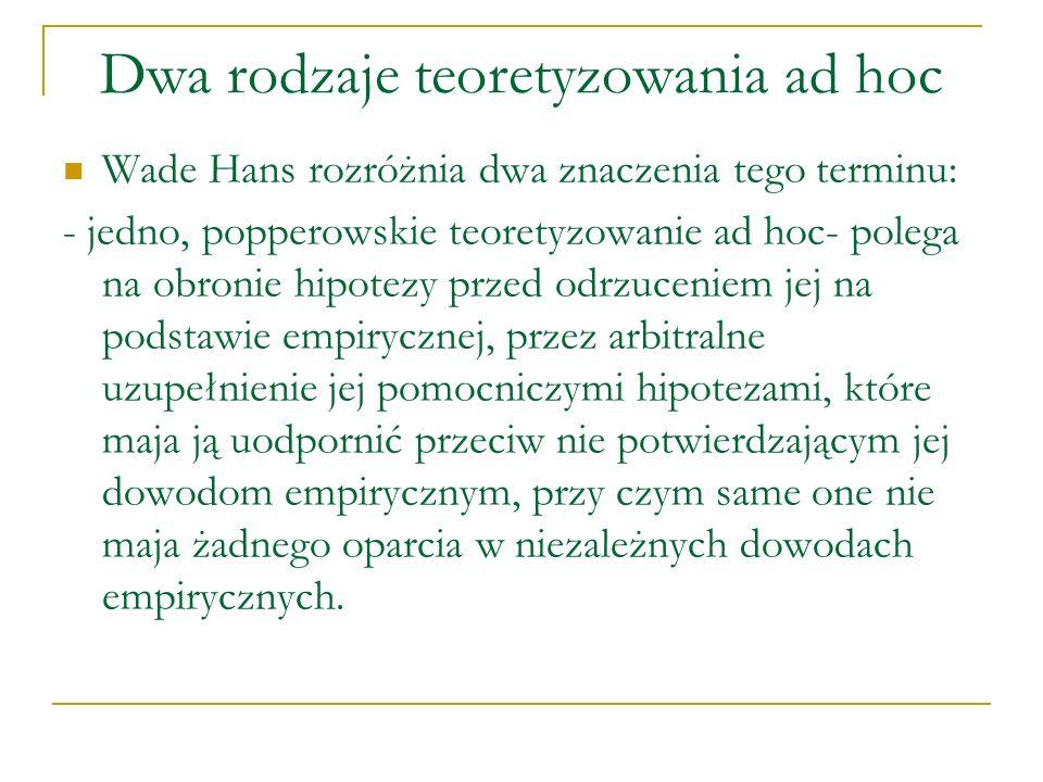 Dwa rodzaje teoretyzowania ad hoc Wade Hans rozróżnia dwa znaczenia tego terminu: - jedno, popperowskie teoretyzowanie ad hoc- polega na obronie hipot