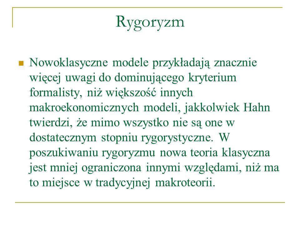 Rygoryzm Nowoklasyczne modele przykładają znacznie więcej uwagi do dominującego kryterium formalisty, niż większość innych makroekonomicznych modeli,