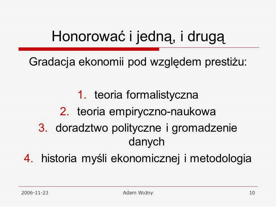 2006-11-23Adam Woźny10 Honorować i jedną, i drugą Gradacja ekonomii pod względem prestiżu: 1.teoria formalistyczna 2.teoria empiryczno-naukowa 3.doradztwo polityczne i gromadzenie danych 4.historia myśli ekonomicznej i metodologia
