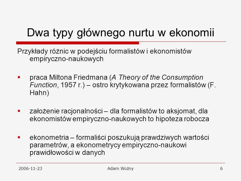 2006-11-23Adam Woźny6 Dwa typy głównego nurtu w ekonomii Przykłady różnic w podejściu formalistów i ekonomistów empiryczno-naukowych praca Miltona Friedmana (A Theory of the Consumption Function, 1957 r.) – ostro krytykowana przez formalistów (F.