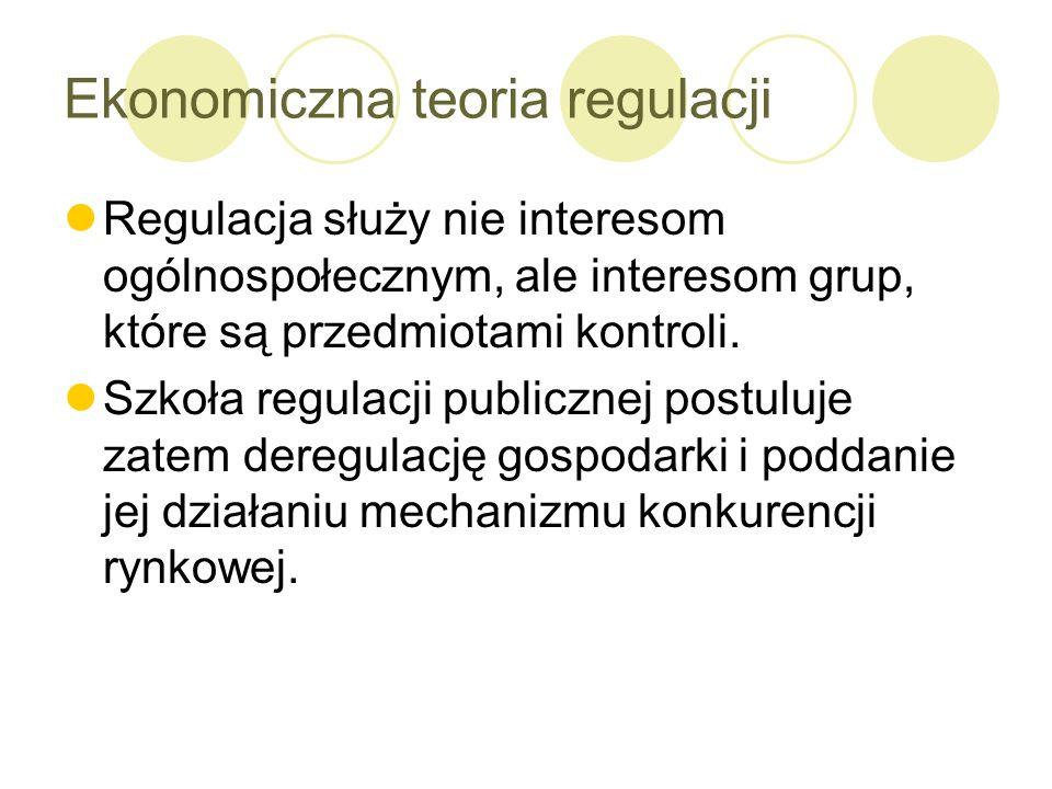 Ekonomiczna teoria regulacji Regulacja służy nie interesom ogólnospołecznym, ale interesom grup, które są przedmiotami kontroli. Szkoła regulacji publ