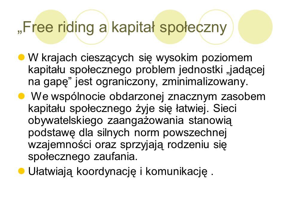 Free riding a kapitał społeczny W krajach cieszących się wysokim poziomem kapitału społecznego problem jednostki jadącej na gapę jest ograniczony, zmi