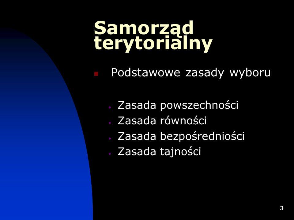 4 Samorząd terytorialny Zasady dotyczące rozdziału mandatów Zasada większości Zasada proporcjonalności