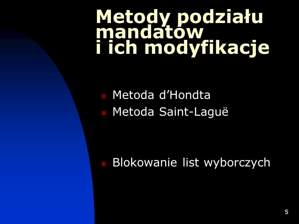 5 Metody podziału mandatów i ich modyfikacje Metoda dHondta Metoda Saint-Laguë Blokowanie list wyborczych