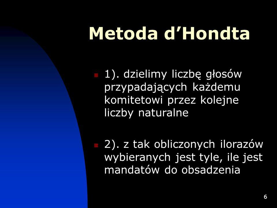 6 Metoda dHondta 1). dzielimy liczbę głosów przypadających każdemu komitetowi przez kolejne liczby naturalne 2). z tak obliczonych ilorazów wybieranyc