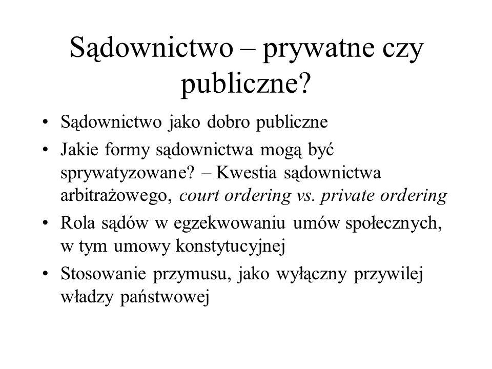 Sądownictwo – prywatne czy publiczne? Sądownictwo jako dobro publiczne Jakie formy sądownictwa mogą być sprywatyzowane? – Kwestia sądownictwa arbitraż