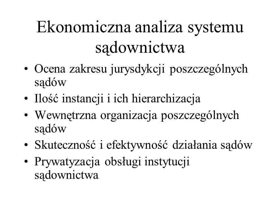 Ekonomiczna analiza systemu sądownictwa Ocena zakresu jurysdykcji poszczególnych sądów Ilość instancji i ich hierarchizacja Wewnętrzna organizacja pos