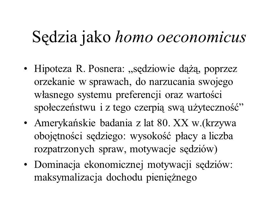 Sędzia jako homo oeconomicus Hipoteza R. Posnera: sędziowie dążą, poprzez orzekanie w sprawach, do narzucania swojego własnego systemu preferencji ora