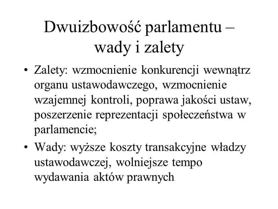 Dwuizbowość parlamentu – wady i zalety Zalety: wzmocnienie konkurencji wewnątrz organu ustawodawczego, wzmocnienie wzajemnej kontroli, poprawa jakości