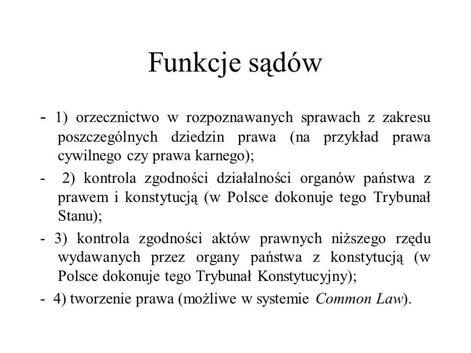 Funkcje sądów - 1) orzecznictwo w rozpoznawanych sprawach z zakresu poszczególnych dziedzin prawa (na przykład prawa cywilnego czy prawa karnego); - 2