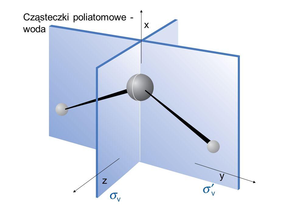 y z x Cząsteczki poliatomowe - woda