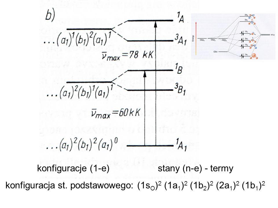 konfiguracja st. podstawowego: (1s O ) 2 (1a 1 ) 2 (1b 2 ) 2 (2a 1 ) 2 (1b 1 ) 2 konfiguracje (1-e) stany (n-e) - termy