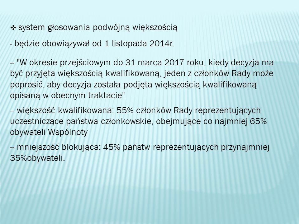 system głosowania podwójną większością - będzie obowiązywał od 1 listopada 2014r. --