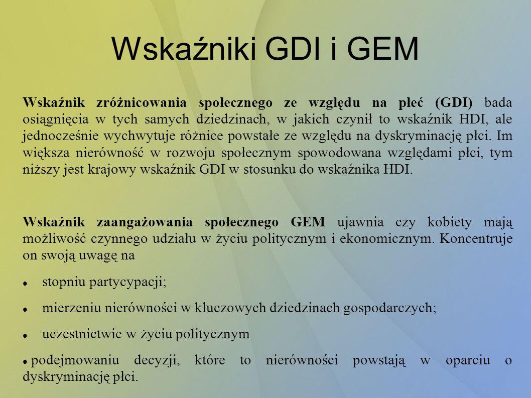 Wskaźniki GDI i GEM Wskaźnik zróżnicowania społecznego ze względu na płeć (GDI) bada osiągnięcia w tych samych dziedzinach, w jakich czynił to wskaźnik HDI, ale jednocześnie wychwytuje różnice powstałe ze względu na dyskryminację płci.