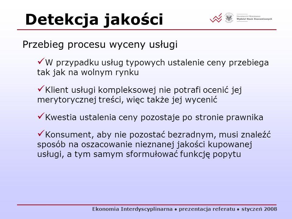 Ekonomia Interdyscyplinarna prezentacja referatu styczeń 2008 Przebieg procesu wyceny usługi W przypadku usług typowych ustalenie ceny przebiega tak j
