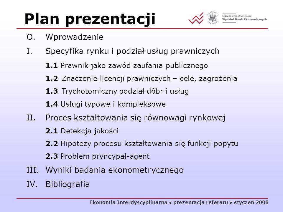 Plan prezentacji Ekonomia Interdyscyplinarna prezentacja referatu styczeń 2008 O.Wprowadzenie I.Specyfika rynku i podział usług prawniczych 1.1 Prawni