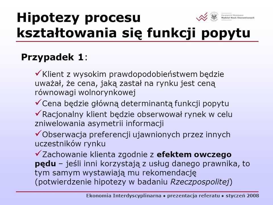 Ekonomia Interdyscyplinarna prezentacja referatu styczeń 2008 Hipotezy procesu kształtowania się funkcji popytu Przypadek 1: Klient z wysokim prawdopo