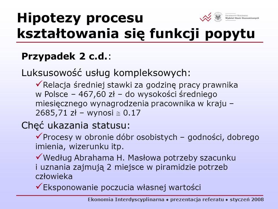 Ekonomia Interdyscyplinarna prezentacja referatu styczeń 2008 Hipotezy procesu kształtowania się funkcji popytu Przypadek 2 c.d.: Luksusowość usług ko